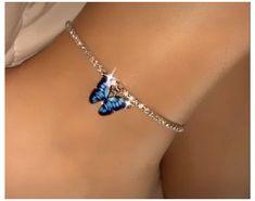 Ankle Jewelry, Ankle Bracelets, Cute Jewelry, Vintage Jewelry, Jewelry Accessories, Geek Jewelry, Gothic Jewelry, Butterfly Jewelry, Blue Butterfly