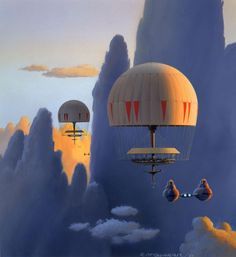"Ralph McQuarrie | TESB: Cloud City Health Spas were shaped like hot-air balloons and floated gently in the Bespin sky, servicing visitors with several relaxing activities. One of these was breathing cloud vapor, where people would lie down on the decks, while the pilot flew through high rising wisps of chemical haze (said to have some form of theraputic value). If you look carefully, you can see a glimpse of one of these ""balloon structures"" in TESB as the Millennium Falcon approaches…"