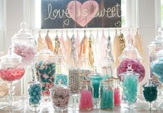 Look LEX...aqua pink wedding candy bar and love the sign!  We are so doing this!!