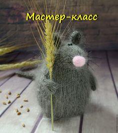 Купить Мышь Мастер Класс спицами Вязаная мышка игрушка - серый, вязаная мышка