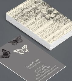 Natural Notes: a classic, old-world style card for musicians of all genres, composers, classical music lovers, music teachers this card is a beautiful representation of traditional sheet music and Victorian art. #moocards #luxebymoo #businesscard
