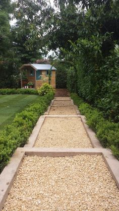 cotswold gravel path set in softwood sleepers, with box hedging to define lawn and laurel hedge