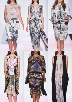 BCBG Max Azria S/S 2014-Hand Painted Florals – Pattern build ups - Flowing Florals – Distorted Beauty – Monochrome Expression – Ink Marked Pattern – Sectioned struc...