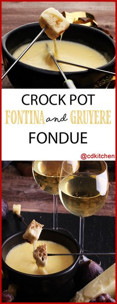 Crock Pot Fontina And Gruyere Cheese Fondue Recipe CDKitchen Crock Pot Fontina And Gruyere Cheese Fondue Recipe CDKitchen Anna Keefe Realtor annakeefe Cooking Slow Cooker Fontina And Gruyere nbsp hellip Cheese Recipes Dips Für Fondue, Cheese Fondue Dippers, Swiss Cheese Fondue, Best Cheese Fondue, Fondue Party, Fontina Cheese, Fondue Ideas, Party Appetizers, Vegan Cheese