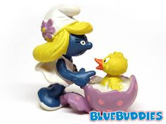 Easter Smurfs.  2.0489 Smurfette with Chick (Light Purple Egg). Smurfette has made a new friend! A colorful egg has hatched an adorable baby...