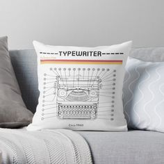 Typewriter, Outline, Throw Pillows, Club, Bedroom, Printed, Awesome, Interior, Shirt