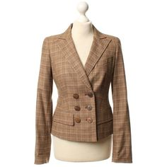 Pre-owned Checked Blazer (8.465 RUB) ❤ liked on Polyvore featuring outerwear, jackets, blazers, brown, houndstooth blazer, brown plaid blazer, checkered jacket, one-button blazer and checked blazer