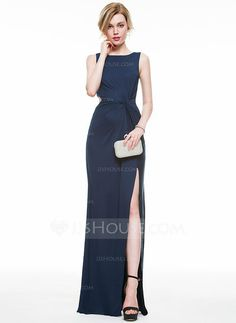 [US$ 78.99] Sheath/Column Scoop Neck Floor-Length Jersey Evening Dress With Ruffle Split Front (017077818)
