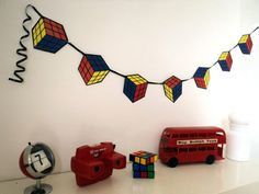 80's Party Decoration Rubiks Cube Bunting Banner