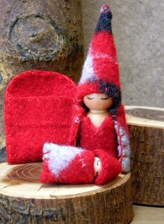 Waldorf Mother & Baby Gnome Play-set, Waldorf Gnomes, Argyle Upcycled wool Toy