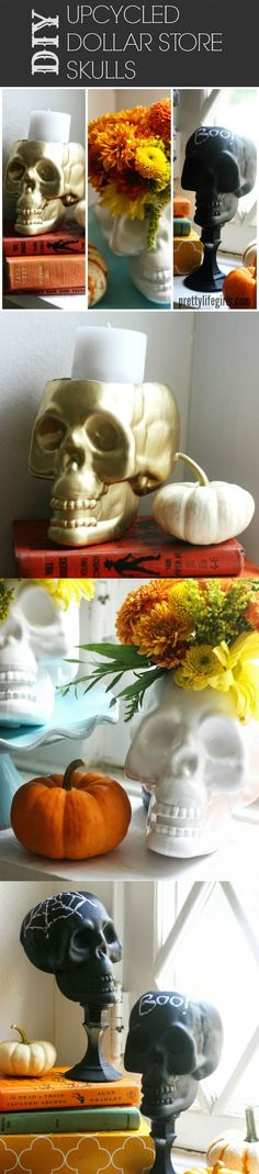 There are so many things you can do with a cheap plastic skull! Check out the options in this unique dollar store craft.