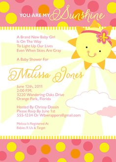 Good You Are My Sunshine Baby Shower Invitations   Girly   Summer   Printable  Design   BAB30