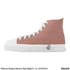 Oldrose Stripes Pattern Zipz High Top Shoes