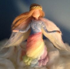 Needle Felted Rainbow Angel Fairy Waldorf by ClaudiaMarieFelt