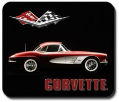 C1 Corvette Mouse Pad featuring a non-slip rubber backing that will work with any mouse type, optical or ball. Image is a clear, highly detailed representation. Spruce up your workstation with this go
