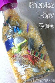 Phonics I-Spy Discovery Bottle – The Imagination Tree Phonics I-Spy game. Fun way to help kids practice letter sounds and keep them entertained when you're on the go. Phonics Activities, Language Activities, Educational Activities, Preschool Activities, Nursery Activities, Literacy Games, Phonics Games For Kids, Letter Sound Activities, Preschool Phonics
