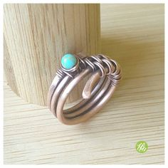 Band ring turquoise, wire wrapped ring, turquoise ring, copper ring, wire ring…