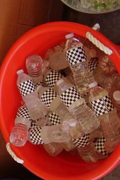 """Water bottles with """"checkered flag"""" duck tape"""