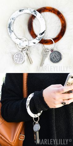 Never lose your keys again with these personalized key rings! Available in tortoise and marble, this super fun monogrammed key chain is the perfect accessory to make keeping track of your keys cute and easy. Large Key Rings, Car Key Ring, Cute Car Accessories, Monogram Keychain, Cute Cars, Alex And Ani Charms, Custom Jewelry, Jewelry Rings, Bracelets