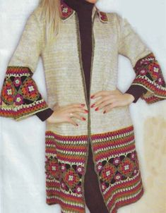Hırka Modelleri, Çiçek motifli hırka Modeli, Resimli çiçek motifli hırka örneği - coat with crochet square cuff & hem - great colors