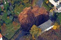A giant sinkhole opened up in a residential area of the town of Schmalkalden, Germany