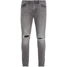 Neuw Denim Rebel distressed skinny jeans ($165) ❤ liked on Polyvore featuring men's fashion, men's clothing, men's jeans, grey, skinny jeans, grey ripped jeans, skinny fit jeans, destroyed skinny jeans and super skinny ripped jeans