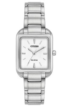 Cette montre de style carré est un autre modèle intemporel de la collection Chandler de CITIZEN®. Modèle montré avec un boîtier et un bracelet en acier inoxydable et un cadran blanc mélamine.