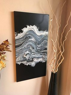 Acrylic pour painting on canvas 15x30 wall art fluid painting