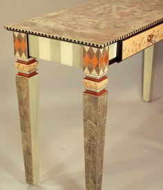 CARVED LEG SOFA TABLE 2-DRAWERS - BRONZE-GREY-MELON
