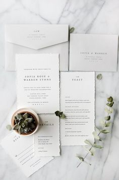 Letterpress ivory and grey classic wedding invitation suite | traditional, simple, modern, elegant, romantic, vintage, succulent, minimalist, design, unique, creative, typography, type, suite, stationery, menu, rsvp, detail card | Gatherie Creative