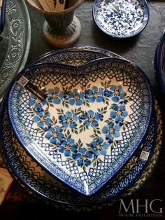 Beautiful, Polish Pottery heart shaped dish in lovely shades of blue. Polish Folk Art, Blue And White China, Polish Pottery, Ginger Jars, Plates And Bowls, Heart Art, White Porcelain, Chinoiserie, Ceramic Pottery