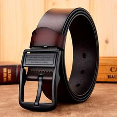 H-M-STUDIO MenS Belts Leather Stainless Steel Pin Buckle Leather Casual Belts First Layer Leather Youth Retro Belts