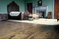 Carnton Plantation bedroom, bloodstains on the floor from when it was used as a hospital after the Battle of Franklin