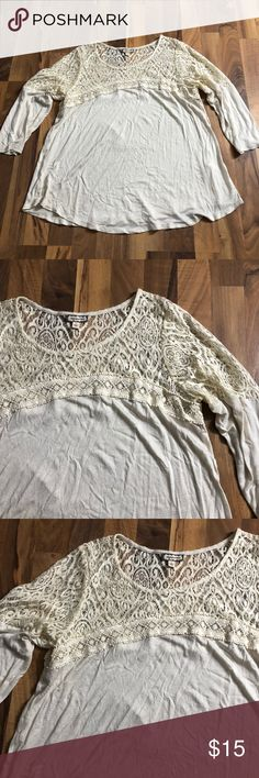 Women's Sz Large Beige Cutout Boho Knit Top This boho top is up for sale! Great condition! Cute!  ❤ very light beige ❤ lovely Lace-type embroider accent on the top ❤ Flowey, peasant style ❤ Size Measured in Pictures 🔍📏   ✅ Bundle up items and save 💲✅  ❤️I love reasonable offers. ❤️ 🎉 Pair w/jewelry, acc. or shoes🎉 🆕 New items every week! 🆕  I'm a mama on a mission. I sell items online to support my 2 sons. Every purchase is important to us. Thanks for your support. Eyeshadow Tops…