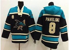 San Jose Sharks #8 Joe Pavelski Black Sawyer Hooded Sweatshirt Stitched NHL Jersey