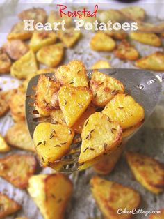Roasted Heart Potatoes - would be perfect side for Valentine's Day Dinner.