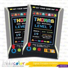 Digital Printable Game Invitation. Arcade Game by kiddocolor