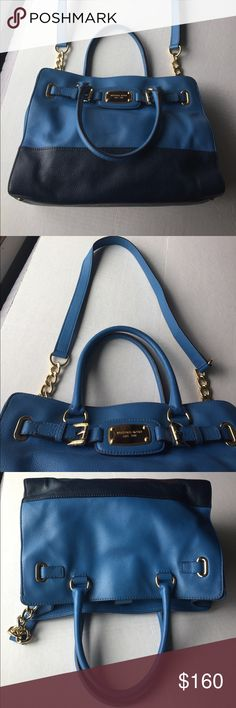 "EUC Micheal Kors Large Hamilton East West heritage blue leather tote. Pebble leather with polished gold hardware accents. 3 main compartments with inner zippered pocket. Two ink marks one on outside and one inside both pictured. Reasonable offers welcome. 26"" from top of strap to bottom. Shoulder strap is not detachable. 10.5"" x14""x6"" handles measures 6"" MICHAEL Michael Kors Bags"