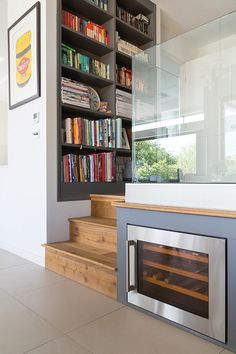 Clever Wine Storage from a contemporary interior in London. We were asked to design an extension at ground level and fully refurbish this property to a high standard, maximising space wherever possible.