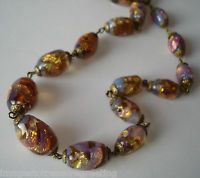 Vintage 1930s opalescent foil glass bead necklace on gold-tone metal