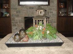 Christmas coffee table arrangement by Carla mcgillivray Coffee Table Arrangements, Coffee Table Centerpieces, Christmas Coffee