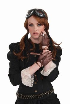 Complete your Steampunk look with these finger-less costume gloves. Steampunk style brown fishnet finger-less gloves with lace-up detail. One size fits most adults.