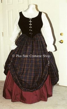 plus size renaissance gown dress scottish irish lass tartan plaid package with black bodice and burgundy and and plaid skirts and white peasant shirt