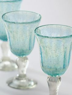 Pretty pastel blue glass. Everything tastes better in a pretty glass