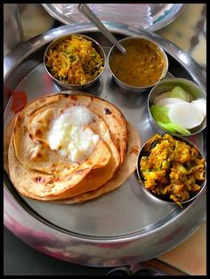 A typical thali from a dhaba in the Punjab, in India.