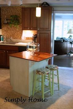 Kitchen island made from a leftover sink base cabinet!