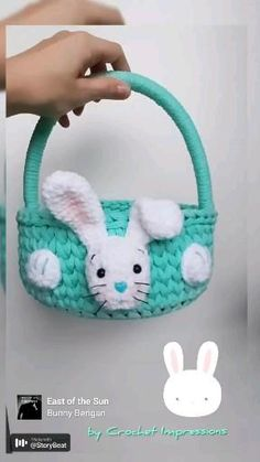 Handmade DIY basket for easter 2021. Basket from cotton cord 5mm and plus white bunny from Himalaya Dolphin Baby. Original easter gift for kids. #crocherimpressions #easter2021 #easterbasket #easterbunny #diybaskets #cottoncord #handmadedesigner #wovenbasket #kidsroom #forkids #diyeaster Easter Crochet, Crochet For Kids, Cute Egg, Easter Gifts For Kids, Crochet Baskets, Easter 2021, Easter Party, Kidsroom, Easter Baskets