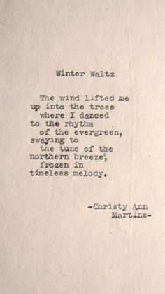 Winter Waltz Poem by Christy Ann Martine