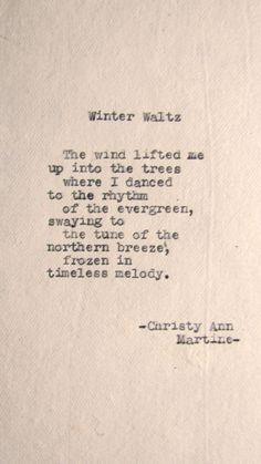Winter Waltz Poem Typed on Cotton Paper by Christy Ann Martine typewriter poetry