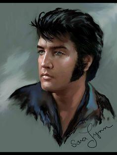Elvis Presley art work by Sara Lynn Sanders Elvis Presley Born, Elvis Presley Pictures, Lisa Marie Presley, Elvis Tattoo, Elvis Memorabilia, Graceland, Tarzan, Caricatures, Mississippi